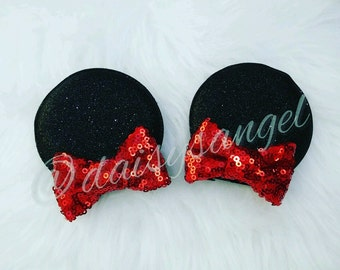 Sparkle Bow Minnie Ear Clips