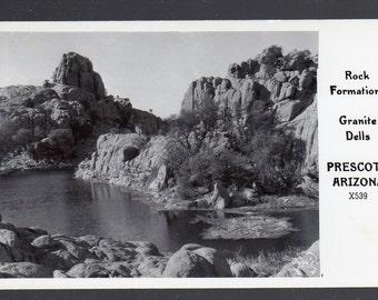 c1940's RPPC Real Photo Postcard, Granite Dells Rock Formations, north of Prescott Arizona