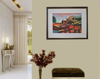 Landscape colorful, Abstract, Pastel on paper, Modern art, Drawning, Mixed media, Abstract painting, Certificate, 19.7 x 13.8 in / 50x35 cm