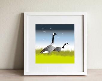 Hooper Geese Print - contemporary design, modern prints from Scotland