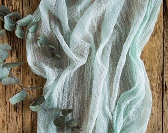 Mint Gauze Table Runner for Weddings and Events, Cheesecloth Centerpieces Runner, Cheese cloth Runner, Cotton Scrim, Cheesecloth tables cape