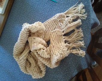 Hand knit 100% cotton scarf
