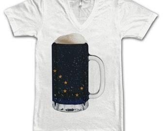 Ladies Alaska State Flag Beer Mug Tee, Home State Tee, State Pride, State Flag, Beer Tee, Beer T-Shirt, Beer Thinkers, Beer Lovers Tee