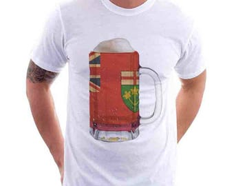 Ontario Flag Beer Mug Tee, Unisex, Home Tee, City Pride, City Flag, Beer Tee, Beer T-Shirt, Beer Thinkers, Beer Lovers Tee