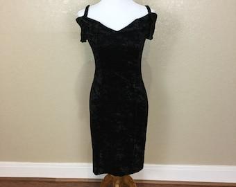 Vamp Off the Shoulder Crushed Velvet Wiggle Dress VTG 80s