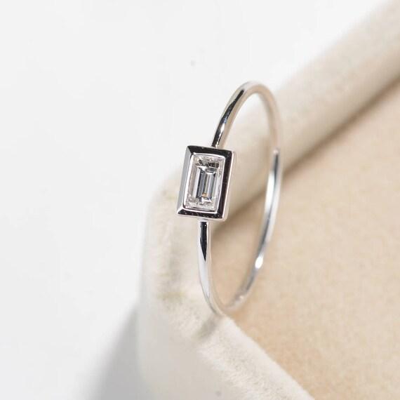 Minimalist engagement ring bezel set baguette diamond ring for Wedding ring minimalist