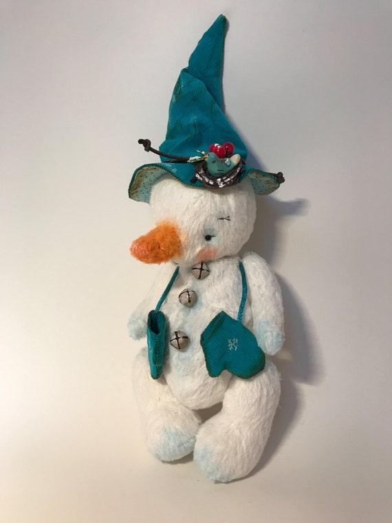 "Handmade OOAK artist teddy bear  toy snowman ""Snowflake"". Handmade item. Collectors item."