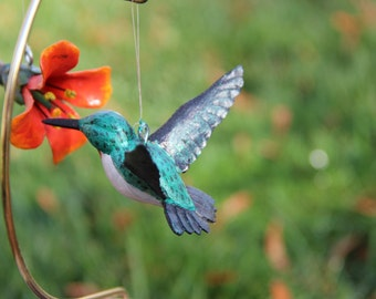 Hummingbird and Hibiscus Ornament, Wood carving, Hanging Decor