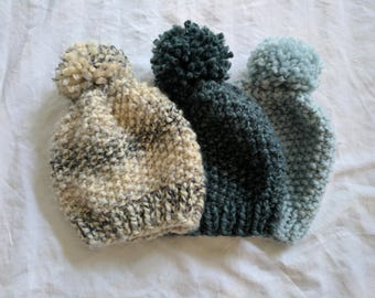 Knitting Pattern | Seed Stitch Beanie Pattern | Hat Knitting Pattern