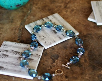Colbalt Blue Crystal Jeweled Necklace