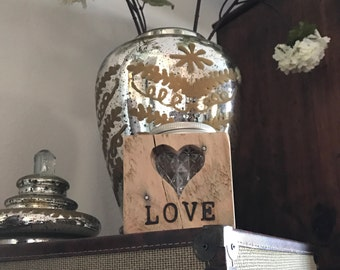 "Reclaimed Oak Mason Jar Votive Holder ""LOVE"""