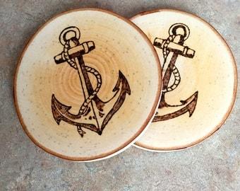 Woodburned Coaster, Anchor Coaster, Wood Coaster, Birch Coaster, Made In Maine, Nautical Coaster, Housewarming Gift, Hostess Gift, Coasters