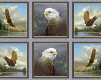 Eagle Panel by Quilting Treasures 100% Cotton 23x43 Eagle Fabric