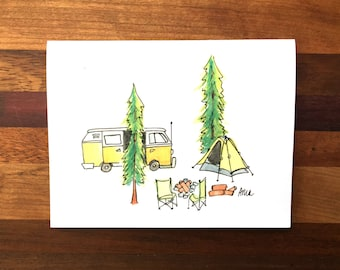 Adventure Greeting Card; Just Because; Hand-Painted Greeting Card; Camping Card
