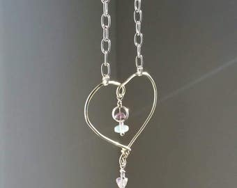 Amethyst Heart, 24 inch Silver Necklace