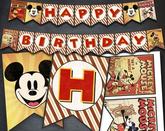 Mickey Mouse Banner, Mickey Mouse Happy Birthday Banner, Mickey Printables, Party, favors, birthday supplies, digital banner, bunting, DIY