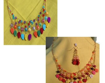 Harmony/Melody:  Matching Mommy & Me Multi Color Beaded Necklace Set