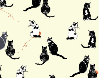 Black and White Cats with Yarn - 100% cotton craft fabric by Makower