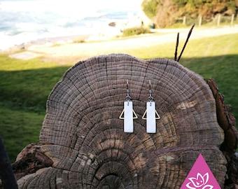 ultra simple geometry bar pattern White Pearl copper chic crochet hypoallergenic earrings