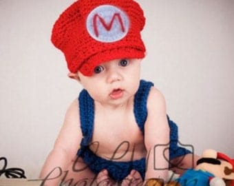 Crochet Baby Mario Outfit, Great for Newborn Pictures
