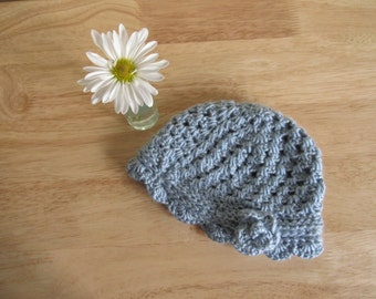 Hand Knit Vintage-Style Blue Toddler Hat