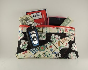 Mah-Jong rectangle Embroidered and lined zipper bag
