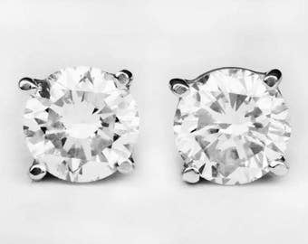0.80 Carat Round Cut Diamond Stud Earrings In 14K White Gold With Push Back