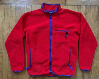 Vintage 80's 90's Patagonia Made in USA Pile Fleece Jacket Zip Cardigan Sz L Synchilla Infrared Red Men's Retro X Deep
