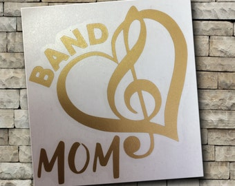 Band Mom vinyl decal/Car decal/tumbler decal/music/marching band/treble clef/heart/band/mom