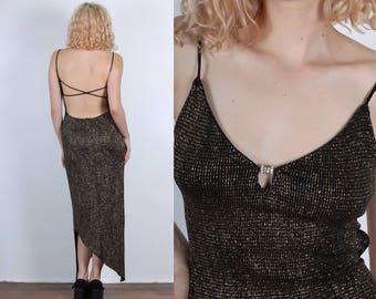 90s Metallic Maxi Dress // Vintage Low Back Bodycon Gold Black Spaghetti Strap - Medium to Large