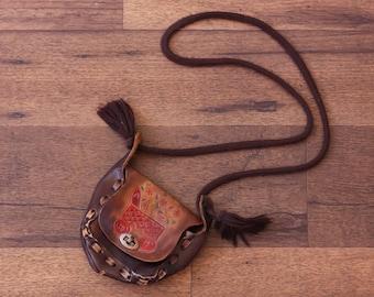 Boho Leather Purse // Vintage Floral Butterfly Handbag Small Pocketbook