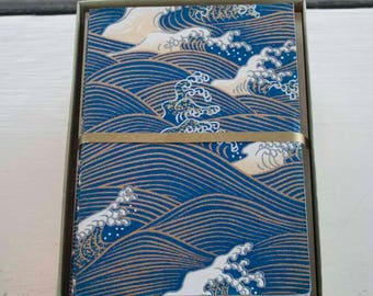 Wave Japanese Handmade Washi Boxed Note Card Set