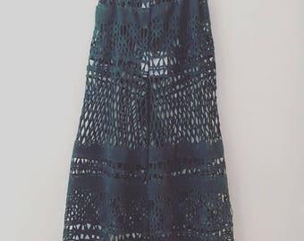 Blumarine green lace trousers, handmade, CHIARA LUPPI designer