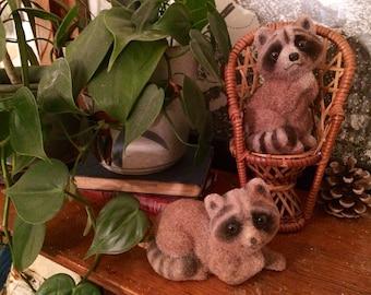 Vintage Fuzzy Raccoon Figurine Set (2)