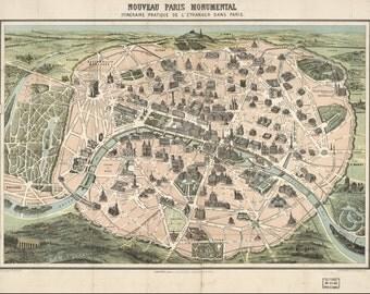 Vintage Paris Map, paris art, DECAL, 1878, paris vintage map, vintage french map, old paris map, old map of paris, paris print