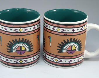 2 Zuni, Southwest Coffee Mugs, Native American Design, Tea Cup, Gift for Him, Gift for Her, Gift for Dad, Birthday Gift, Home Décor, Props