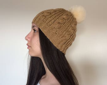 Hand Knit Beanie...Cable Knit Women's Winter Hat with Pom Pom