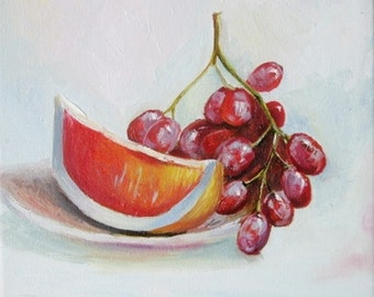 Still life painting Food Art Small painting Oil on canvas Fruit painting Art for Kitchen  Fruit art