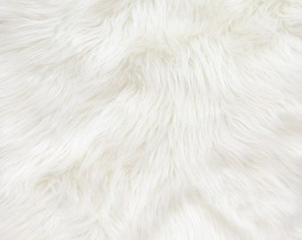 "Shaggy White Long Pile Faux Fur Fabric By The Yard 60"" Wide"