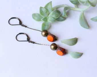 EARRINGS orange pearl