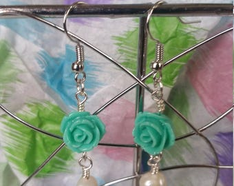 Green Rosette Earrings With Freshwater Pearls