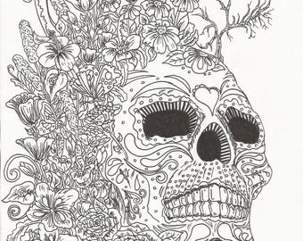 Flower Skull Coloring Page
