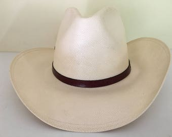 """Vintage high quality Resistol Hats western style finely woven straw pre formed hat adult size 7, 21.5"""" Spring /Summer, made Texas, USA"""