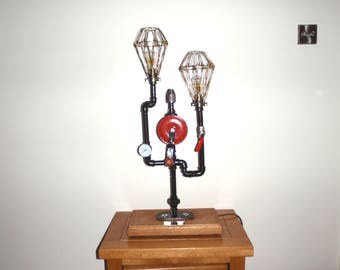 Handcrafted Steampunk Belly Brace Hand Drill Table Lamp