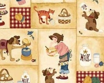Novelty Cotton Fabric Children Cupcakes and Pets!  - SUPER SALE