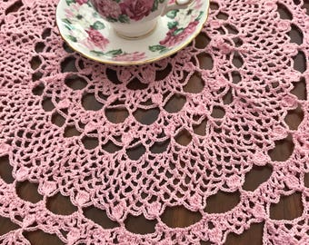 Vintage baby pink doily with ruffled edges. Crocheted with love!