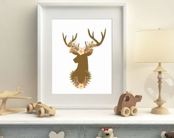 Woodland deer printable wall art, nursery woodland wall art, deer horns and flowers wall decor, instant download home decor