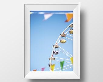 Ferris Wheel Print, Fun Print, Art, Fair Photography, Carnival Art, Faire Wall Art, Photography, Colorful Print, Instant Download Art