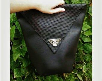 Black vegan leather backpack