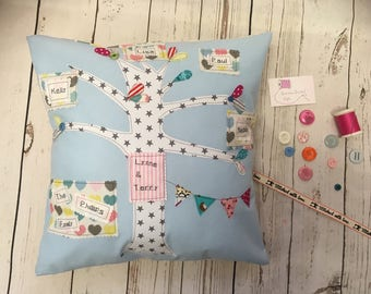 Family tree cushion, family tree gifts, anniversary gifts, new baby gifts, generation gift, female birthday gifts, male gifts